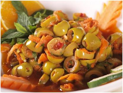 Green olives salad